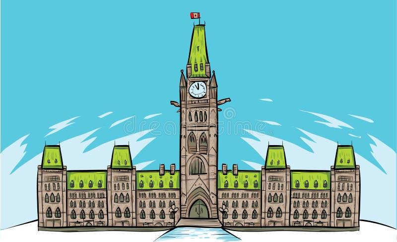 Parliament Hill, Ottawa. Cartoon of Parliament Building in Ottawa, Ontario, Canada royalty free illustration