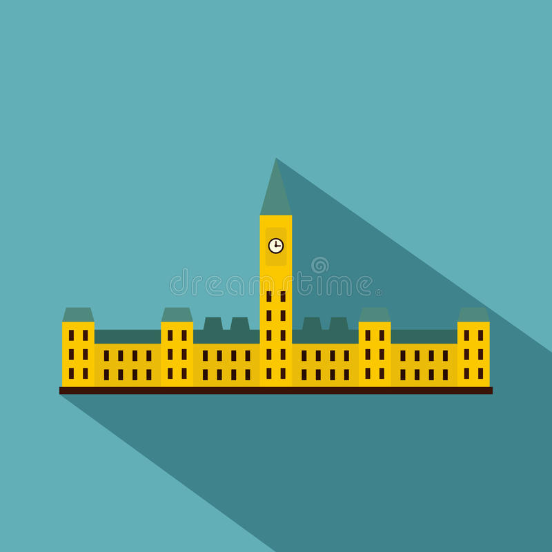 Parliament Hill, Ottawa icon, flat style. Parliament Hill, Ottawa icon. Flat illustration of Parliament Hill, Ottawa vector icon for web on baby blue background vector illustration