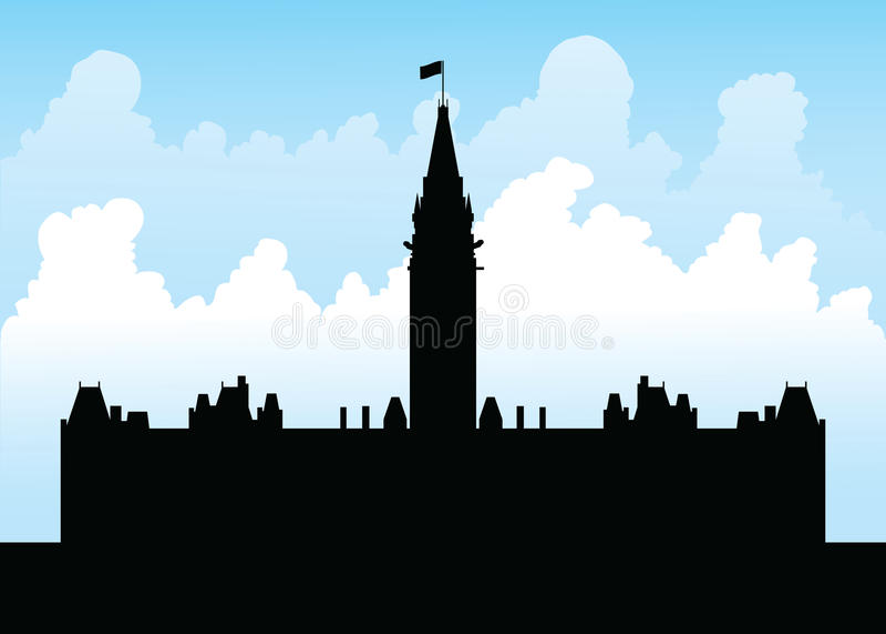 Parliament Hill, Ottawa. Silhouette of the goverment building on Parliament Hill, Ottawa, Ontario, Canada stock illustration
