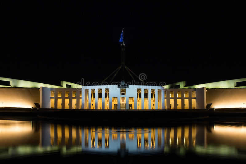 Parliament House Canberra Australia. Night shot of Parliament House in Canberra Australia royalty free stock photos