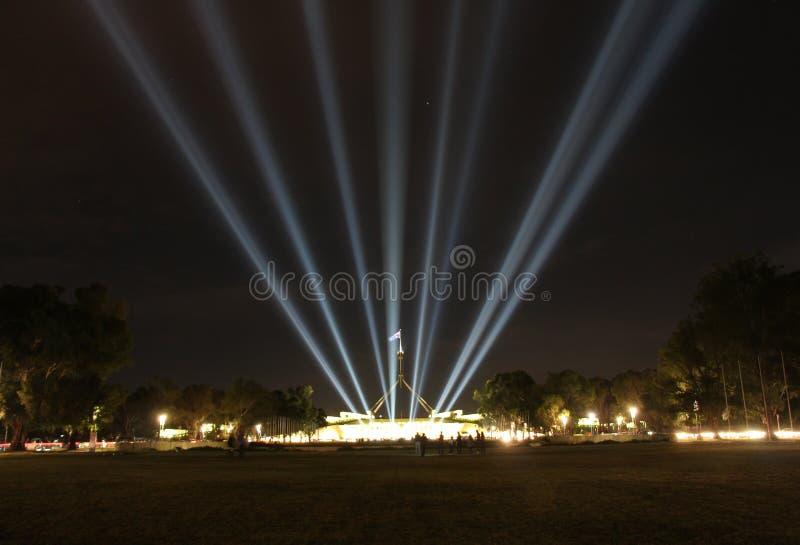 Parliament House, Enlighten. Parliament House, Canberra Australia, Enlighten Festival stock images