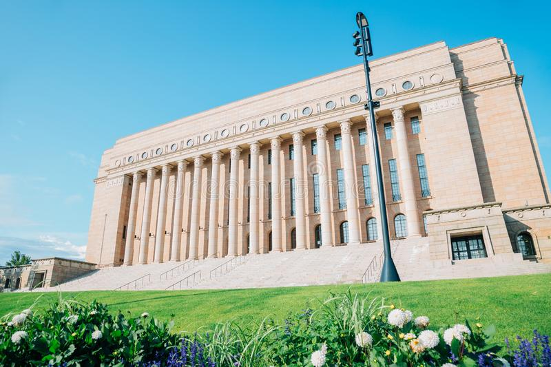 The Parliament House in Helsinki, Finland. European old architecture stock image