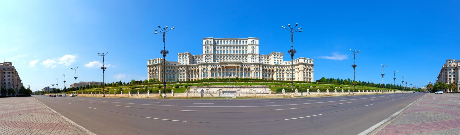 Parliament House panorama, Bucharest, Romania stock images
