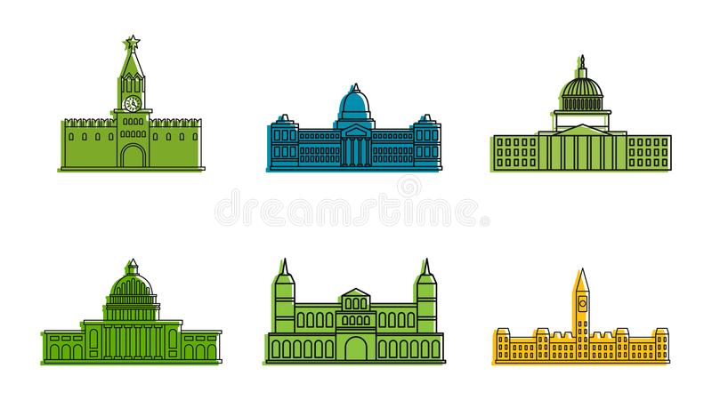 Parliament icon set, color outline style royalty free illustration