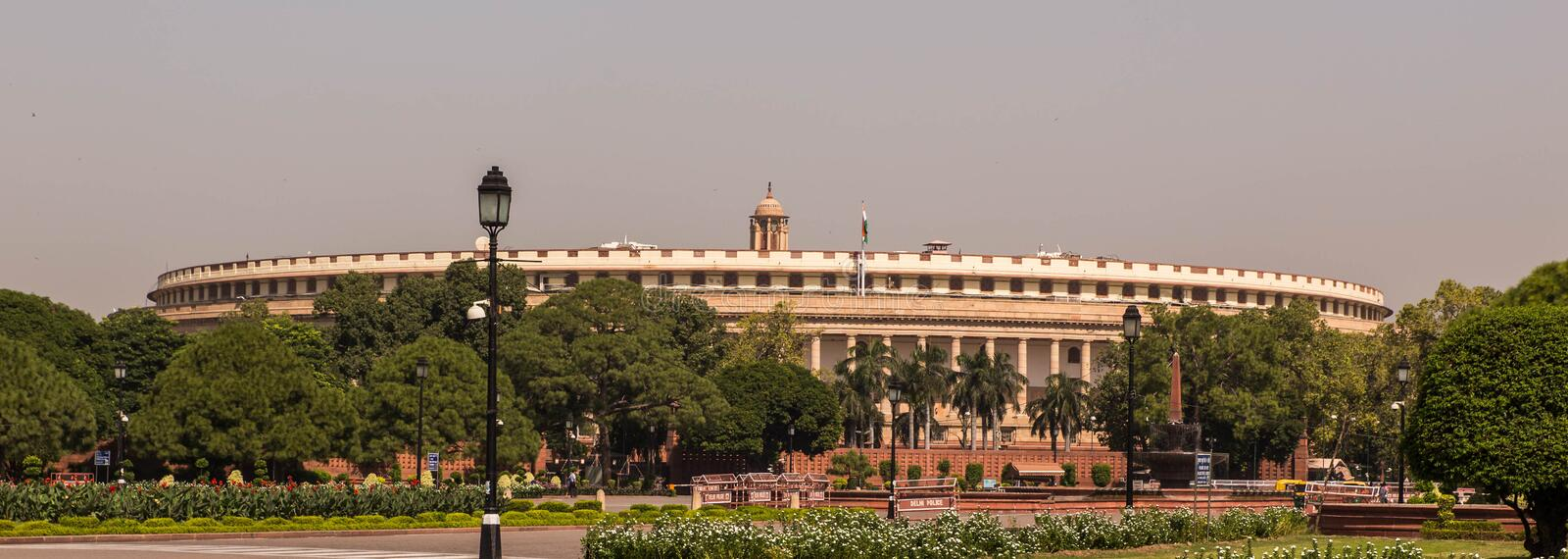 Parliament Of India in Delhi. He Sansad Bhavan English: Parliament House is the house of the Parliament of India, which contains the Lok Sabha and the Rajya stock photo