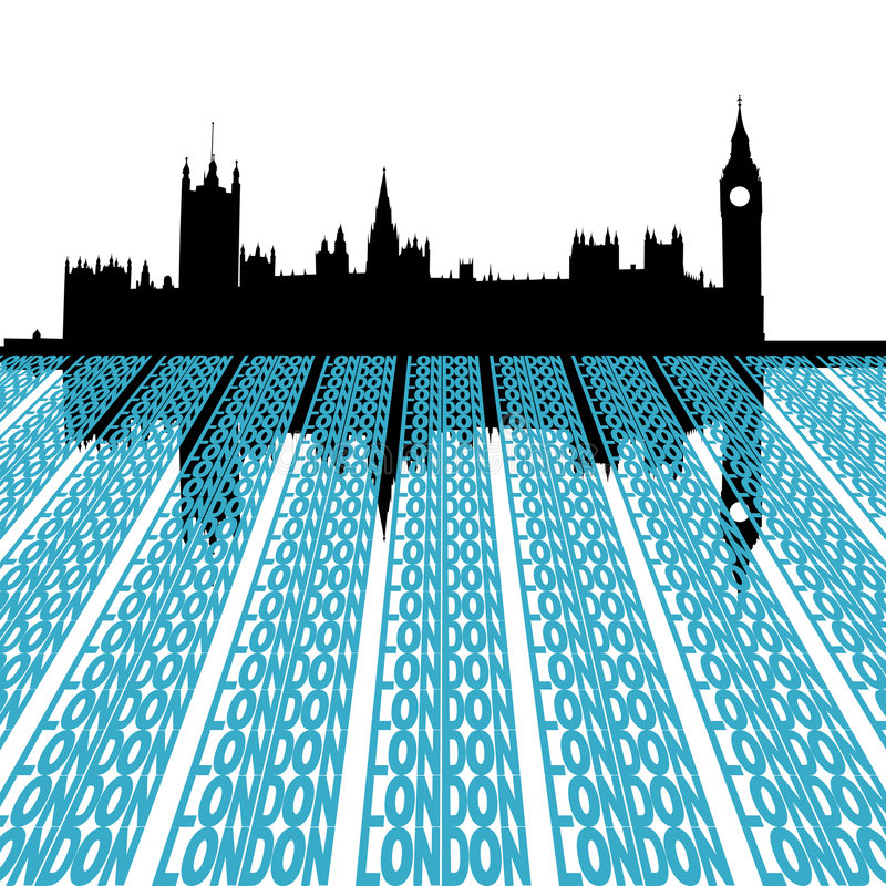 Parliament with London text. Houses of Parliament reflected with London text illustration royalty free illustration