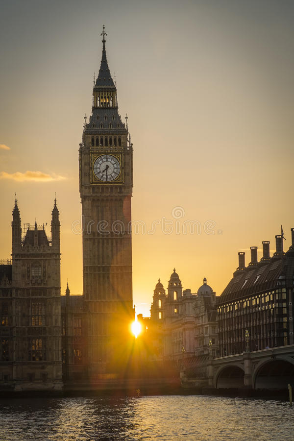 Parliament at Sunset. Parliament and Big Ben at Sunset and dusk in central London stock photo