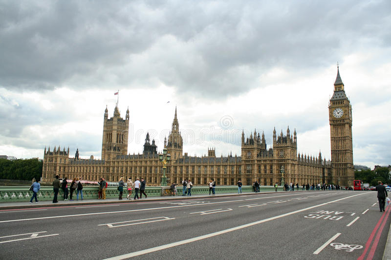 Parliament and westminster bridge stock photo