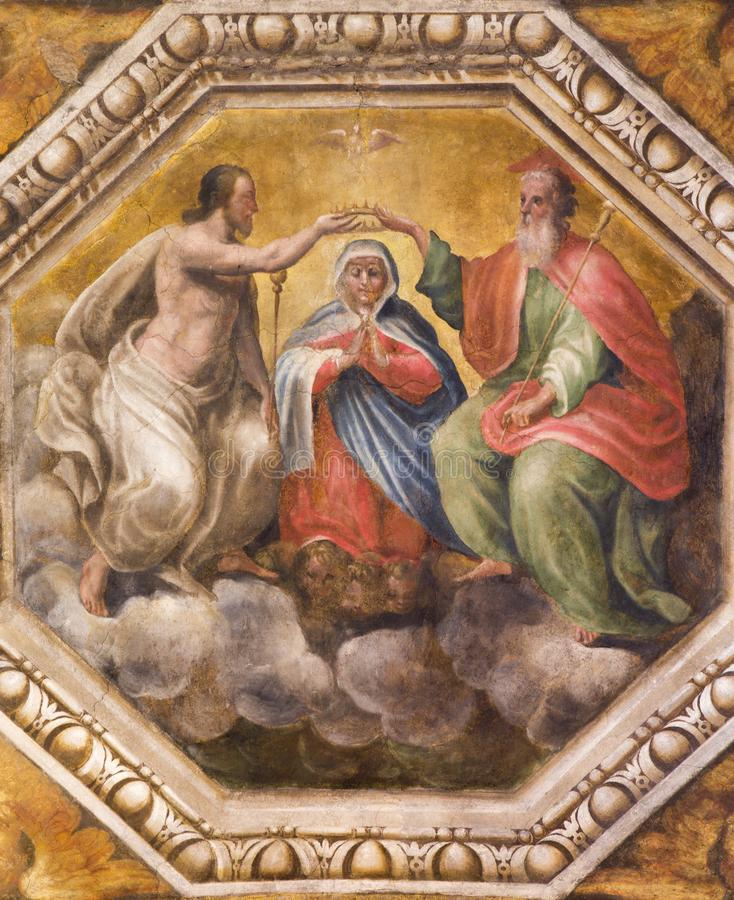 Parma - The detail of fresco of Coronation of Virgin Mary on the celing of church Chiesa di Santa Maria degli Angeli. PARMA, ITALY - APRIL 17, 2018: The detail stock images