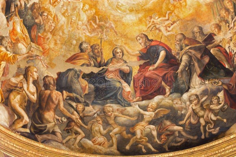Parma - The fresco of Coronation of Virgin Mary in main apse of church Chiesa di Santa Mari della Steccata. PARMA, ITALY - APRIL 16, 2018: The fresco of stock photo