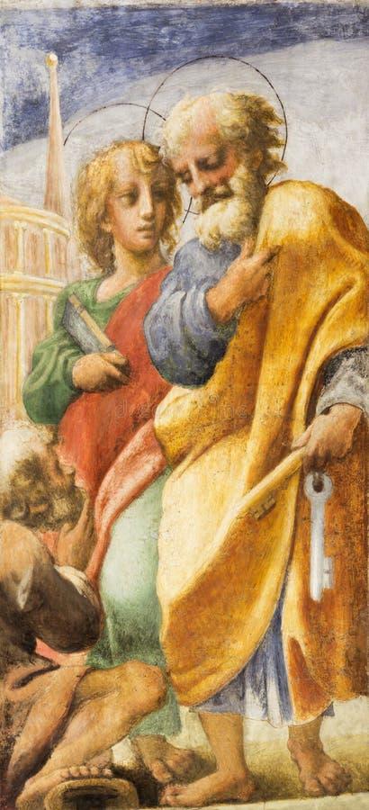 Parma - freskomålningen av apostlar St Peter och John i kyrkliga Chiesa di San Giovanni Evangelista vid Correggio arkivfoton