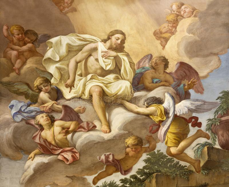Parma - het detail van de fresko Jesus onder de engelen op het belangrijkste altaar van kerk Chiesa Di San Antonio Abate royalty-vrije stock foto