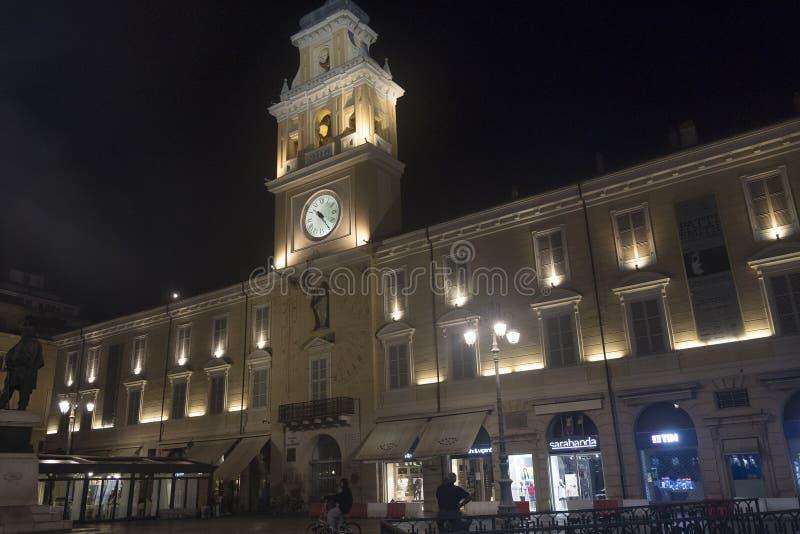 Parma Italië 's nachts: Garibaldivierkant royalty-vrije stock fotografie