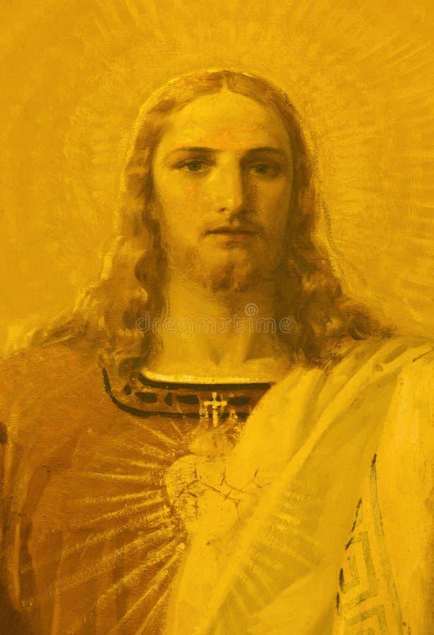 PARMA, ITALIA - 16 APRILE 2018: Il dettaglio di pittura del cuore sacro di Gesù resuscitato in chiesa Chiesa di San Benetetto fotografia stock libera da diritti