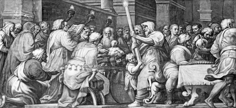 PARMA, ITALIA - 16 DE ABRIL DE 2018: El fresco la circuncisión de Jesús en Duomo de Lattanzio Gambara 1567 - 1573 imagenes de archivo