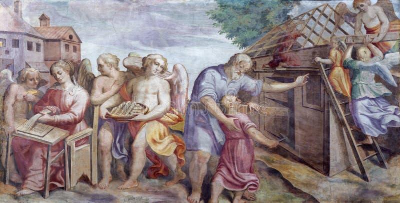 PARMA, ITALIEN - 16. APRIL 2018: Das freso der heiligen Familie bei der Arbeit in Kirche Chiesa-Di Santa Croce lizenzfreie stockfotos