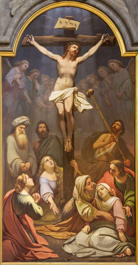 PARMA, ITALIEN - 16. APRIL 2018: Die Malerei der Kreuzigung in der Kirche Chiesa di San Rocco durch Giacinto Brandi stockfotos