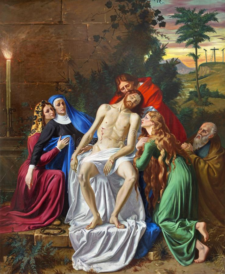 PARMA, ITALIEN - 16. APRIL 2018: Die Malerei von Absetzung Pieta in der Kirche Chiesa di San Vitale durch D Pozzi 1894 - 1946 stockbild