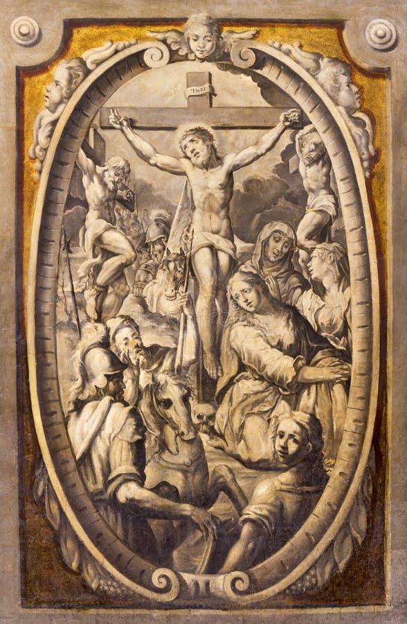 PARMA ITALIEN - APRIL 16, 2018: Freskomålningen av korsfästelse i kyrkliga basilikadi Santa Maria della Steccata från 17 cent royaltyfri bild