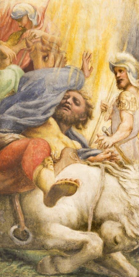 PARMA ITALIEN - APRIL 15, 2018: Freskomålningen av omvandlingen av St Paul i kyrkliga Chiesa di San Giovanni Evangelista vid Corr royaltyfri fotografi