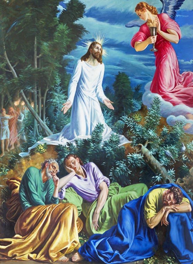 PARMA ITALIEN - APRIL 16, 2018: Målningen av bönen av Jesus i den Gethsemane trädgården i kyrkliga Chiesa di San Vitale vid D Poz royaltyfri bild