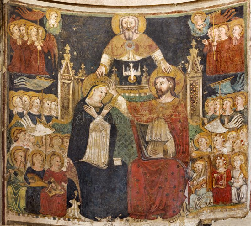 PARMA, ITALY - APRIL 16, 2018: The fresco of The Coronation of Virgin Mary in Baptistery from 14 - 15. cent.. PARMA, ITALY - APRIL 16, 2018: The fresco of The royalty free stock photography