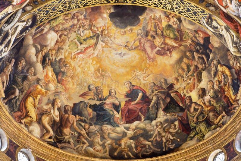 PARMA, ITALY - APRIL 16, 2018: The fresco of Coronation of Virgin Mary in main apse of church Chiesa di Santa Mari della Steccata. By Michelangelo Anselmi 1541 royalty free stock photography