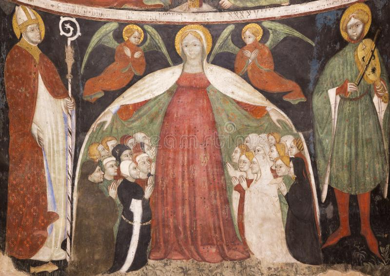 PARMA, ITALY - APRIL 16, 2018: The fresco of Virgin Mary among the angels and saints in Baptistery. From 14 - 15. cent stock photos