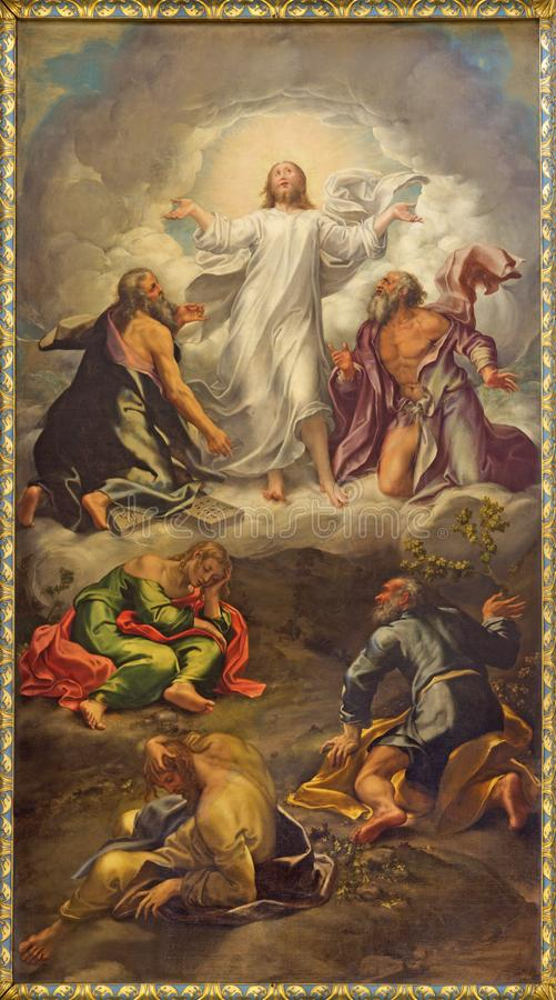 Parma - The painting of Transfiguration of the Lord on the main altar of church Chiesa di San Giovanni Evangelista. PARMA, ITALY - APRIL 15, 2018: The painting stock photos