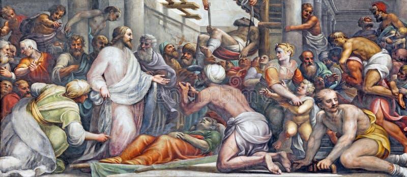 PARMA WŁOCHY, KWIECIEŃ, - 16, 2018: Fresk Jezus przy gojeniem w Duomo Lattanzio Gambara 1567, 1573 - zdjęcia royalty free