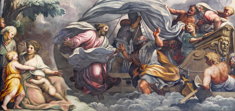 PARMA WŁOCHY, KWIECIEŃ, - 16, 2018: Fresk Peter, chodzi na wodzie w kierunku Jezus w Duomo Lattanzio Gambara 1567, 1573 - obraz stock