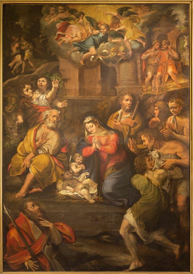 PARMA WŁOCHY, KWIECIEŃ, - 17, 2018: Obraz narodzenie jezusa w kościelnym Chiesa Di Santo Tomaso Girolamo Bedoli 1500, 1569 - fotografia royalty free