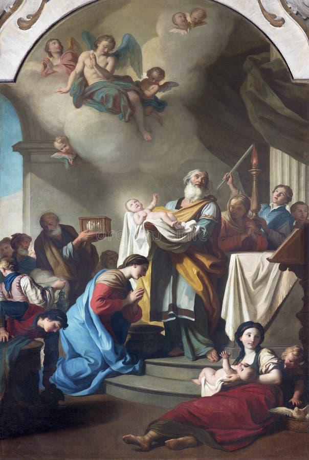 PARME, ITALIE - 12 AVRIL 2018 : La peinture de la présentation dans le temple dans l'église Chiesa di San Agostino images libres de droits