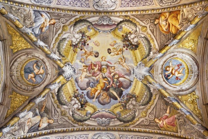 PARME, ITALIE - 16 AVRIL 2018 : Le fresque de plafond avec l'apothéose de St Lucy en Di Santa Lucia de Chiesa d'église photos stock