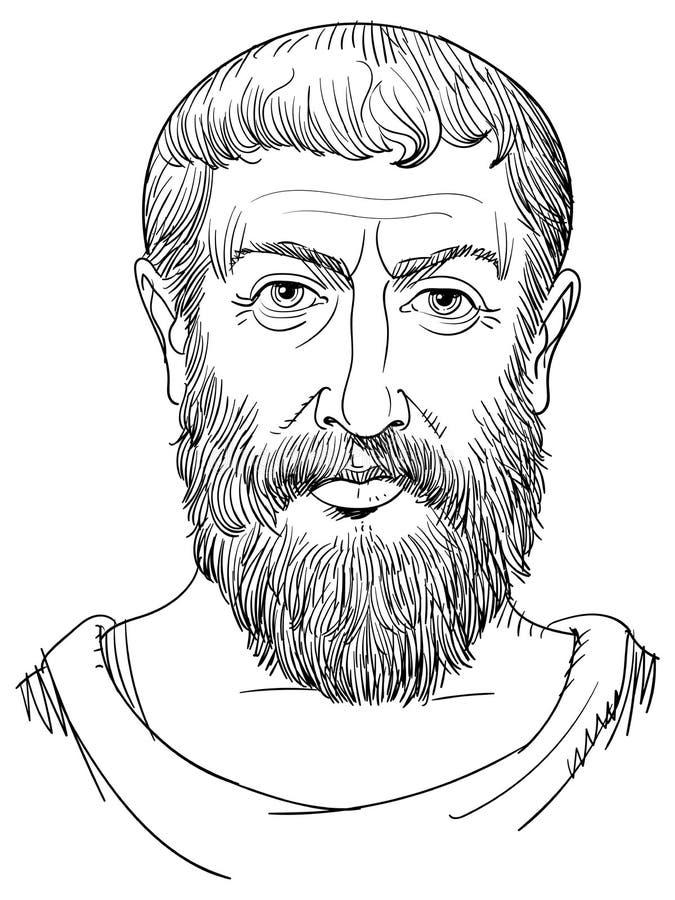 Parmenides portret w kreskowej sztuki ilustracji Grecki filozof, wektor ilustracja wektor