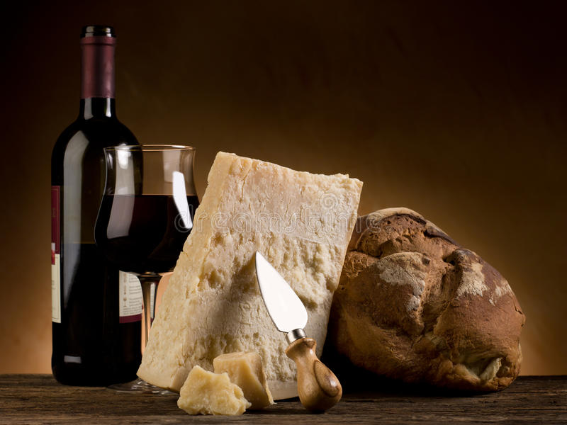 Parmesan Cheese Bread And Wine Stock Photography