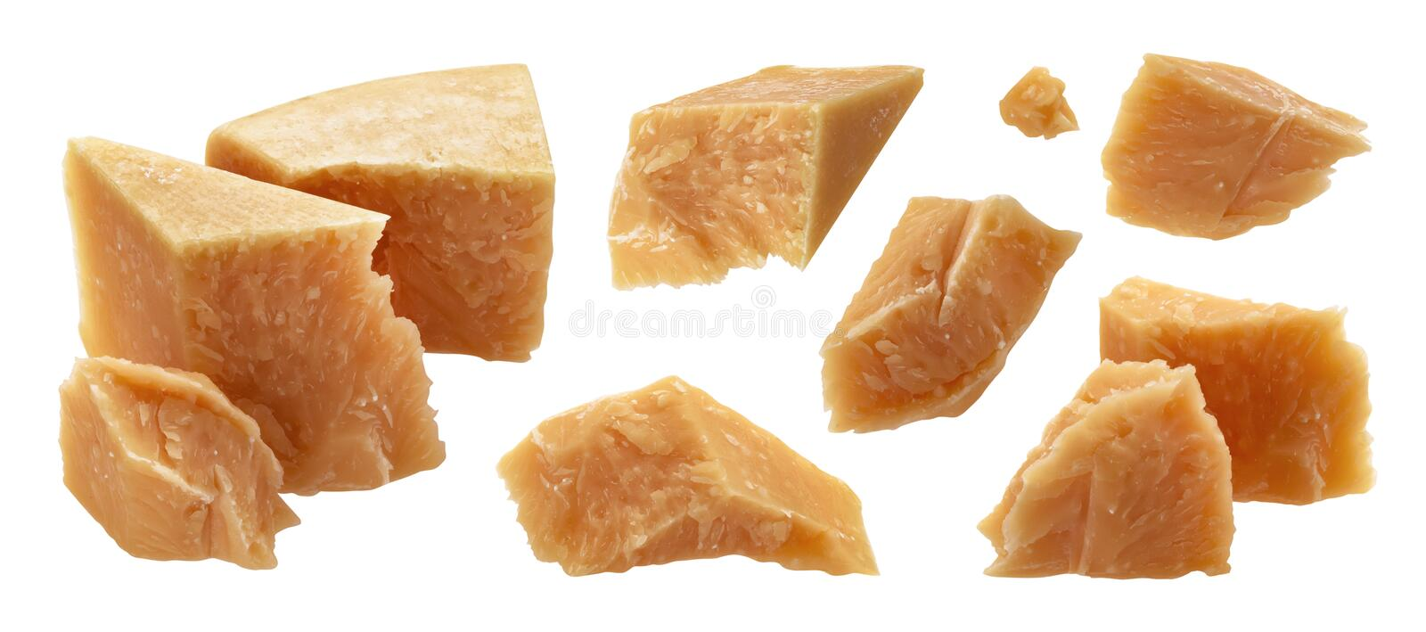 Parmesan cheese cut pieces isolated on white background stock photography