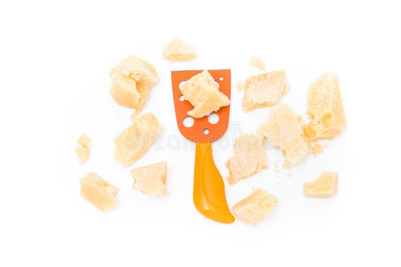 parmesan cheese and knife isolated royalty free stock image