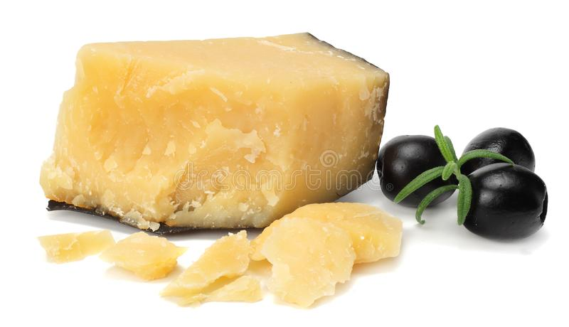 Parmesan cheese with olives isolated on white background stock photo