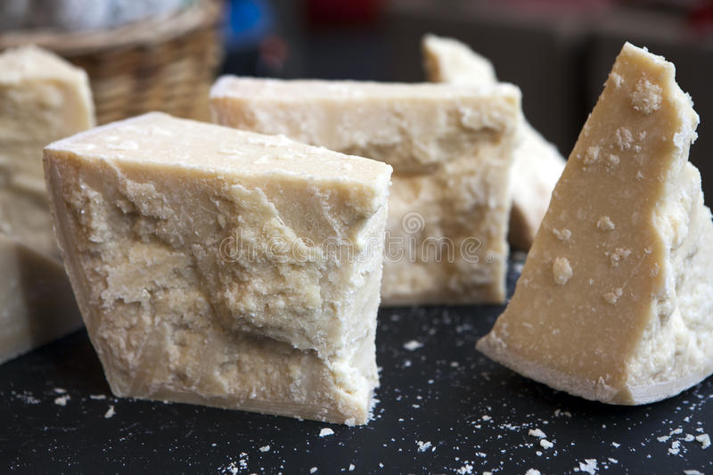 Parmesan cheese. Seasoned for sale at Borough Market royalty free stock photos