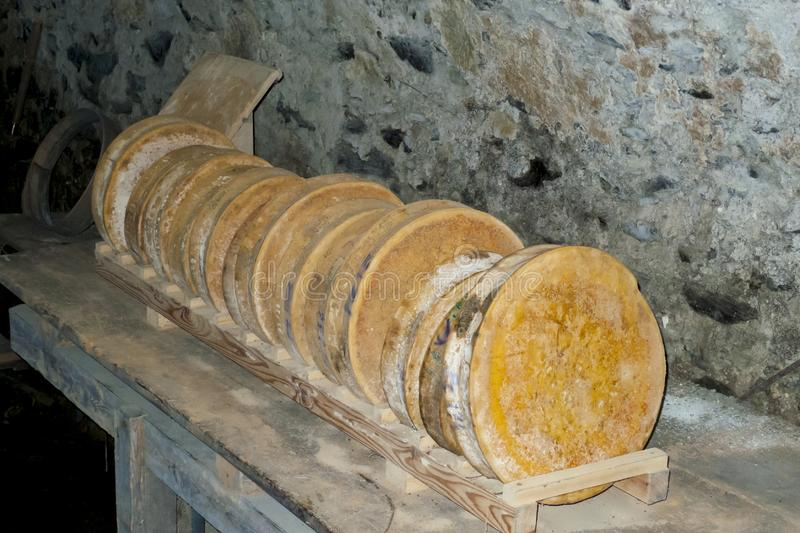 Parmesan, Italian old hard cheese wheels placed on wooden shelf. Parmesan, Italian old hard cheese wheels placed on a wooden shelf royalty free stock image