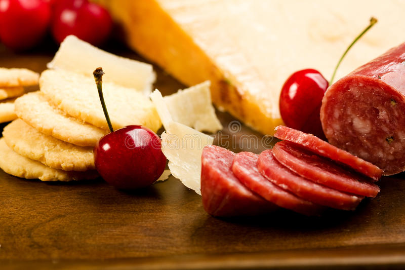 Parmesan Shortbread Biscuits And Salami Royalty Free Stock Photography