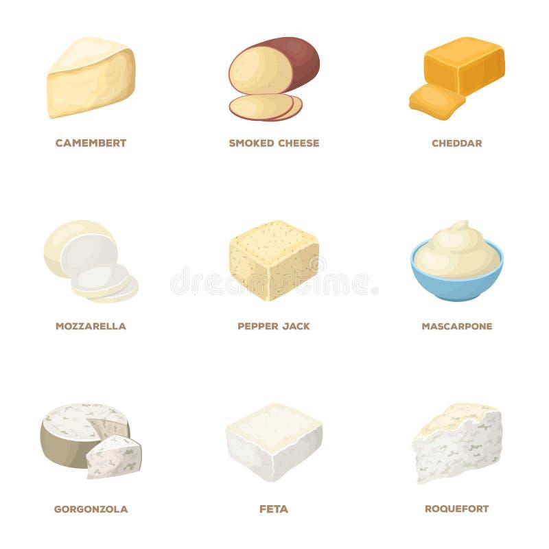 Parmesano, el Roquefort, maasdam, gauda Diversos tipos de iconos determinados de la colección del queso en estilo de la historiet libre illustration