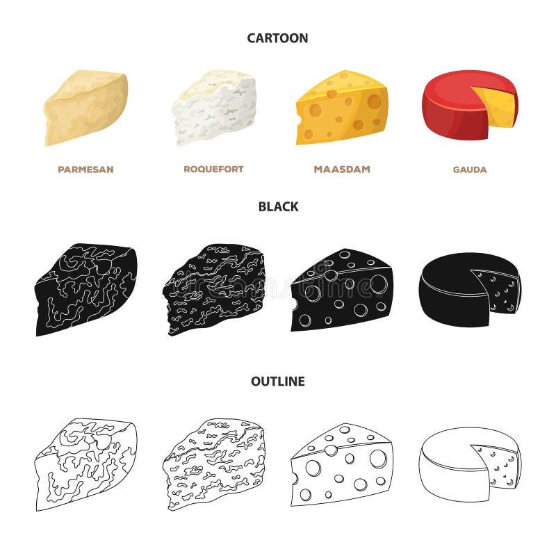 Parmezański, roquefort, maasdam, gauda Różni typ ser ustalone inkasowe ikony w kreskówce, czerń, konturu stylowy wektor ilustracji