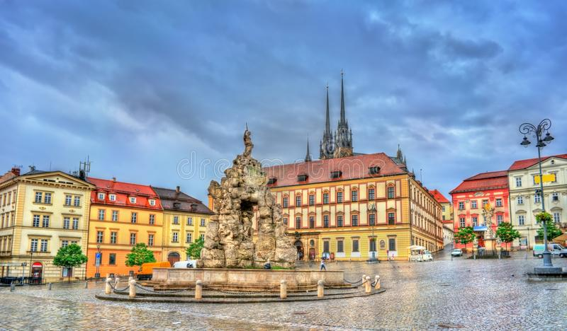 Parnas Fountain on Zerny trh square in the old town of Brno, Czech Republic stock photography