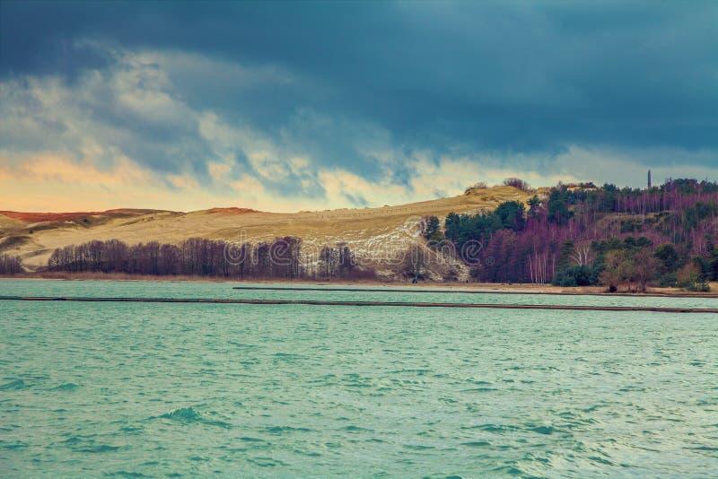 Parnidis沙丘在秋天, Neringa,立陶宛 库存照片