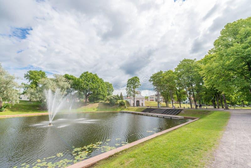 PARNU, ESTONIA - JULY 6, 2017: Beautiful city park. Parnu attracts half million tourists annually.  stock photos
