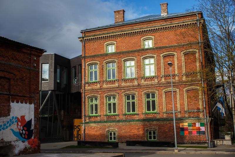 PARNU, ESTONIA - MAY 02, 2015: Old building of the old humanitarian school Stevaka in historical center of Parnu on the Louna. Street stock photo
