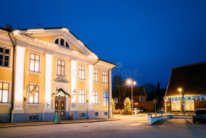 Parnu, Estonia. Night View Of Parnu Visitor Center In Evening Night Illuminations.  royalty free stock images