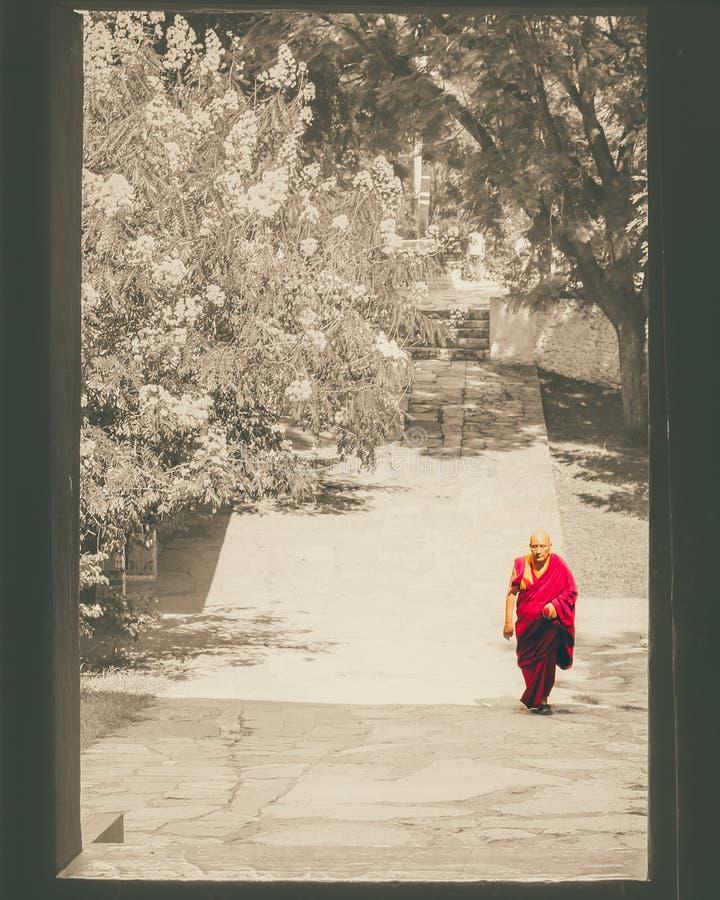 Paro, Μπουτάν - 10 Σεπτεμβρίου 2016: Bhutanese μοναχός που περπατά μέσω της πόρτας στο ναό Kichu Lhakhang στοκ φωτογραφία με δικαίωμα ελεύθερης χρήσης